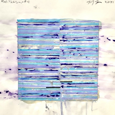 Mark Zimmermann blue striped abstract meditations work on paper acrylic and graphite 12 x 12 inches