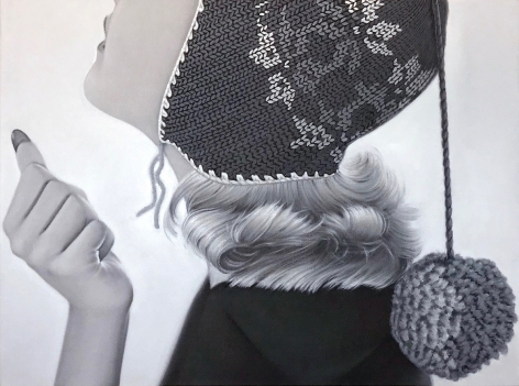 James Rieck black and white painting titled Pom-Pom side portrait of female wearing an embroidered head cap with large pom-pom