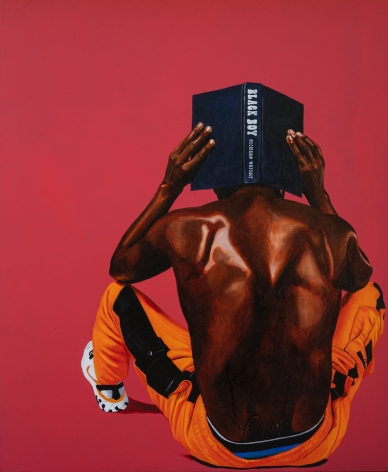"""Painting by Fahamu Pecou measuring 66"""" x 54"""" featuring a shirtless African American male figure holding a novel Black Boy by Richard Wright"""
