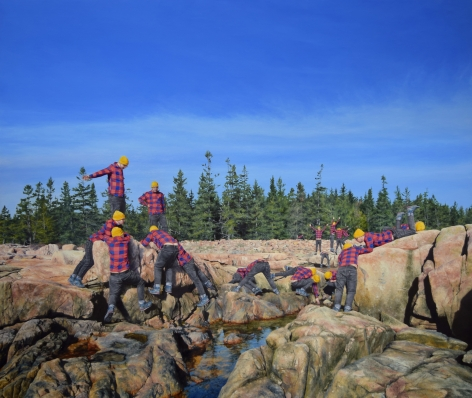 Landscape painting by Cobi Moules titled Rocky Coast of Maine III, featuring multiple self portraits of the artist scattered across the rocks