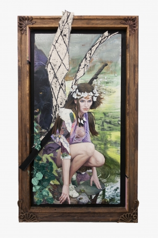 Time Faerie , 2019, Oil and acrylic on panel, found paintings, textiles, Chinese cast iron in artist frame