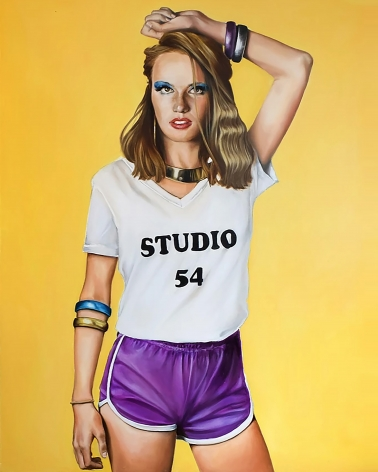 "Tara Lewis painting titled ""Studio 54""  2019, Oil on canvas measuring 60 x 48 in.  The image is of a young woman with blonde hair wearing a white Tshirt with words Studio 54 printed on it, and cropped purple shorts"