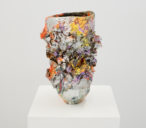 ceramic by Lauren Skelly Bailey titled Wards Up 2021, Glazed stoneware, slip & acrylic  13 x 5 x 5 in