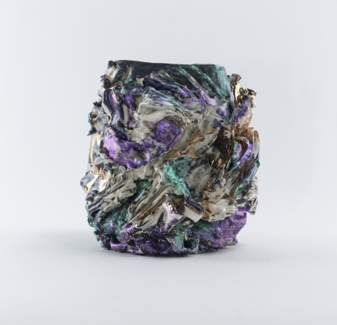 ceramic by Lauren Skelly Bailey titled Changeling 2021, Glazed stoneware, luster, & acrylic  6.5 x 4.5 x 4 in
