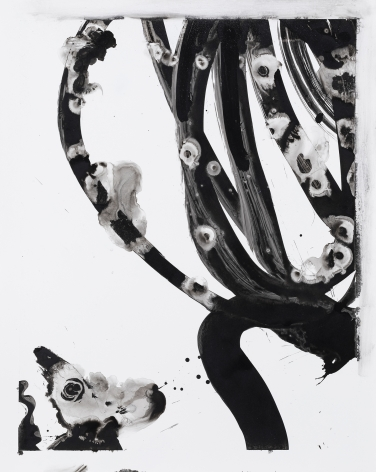 Black and white circular gestural abstract painting titled Lotan V by Christopher Rico