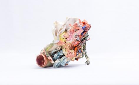 ceramic by Lauren Skelly Bailey titled Sedimentary Coral  2020, Glazed terra cotta, porcelain, slip, pigment  4 x 6 x 2 in