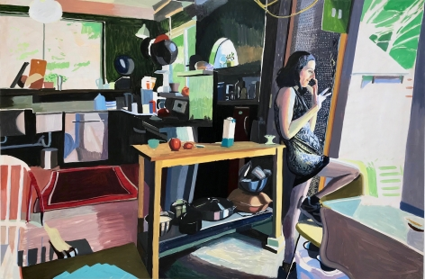 Chelsea Gibson painting titled Jessica in My Kitchen in July, 2019, Oil on panel 40 x 60 inches imagery caucasian women talking on phone in kitchen