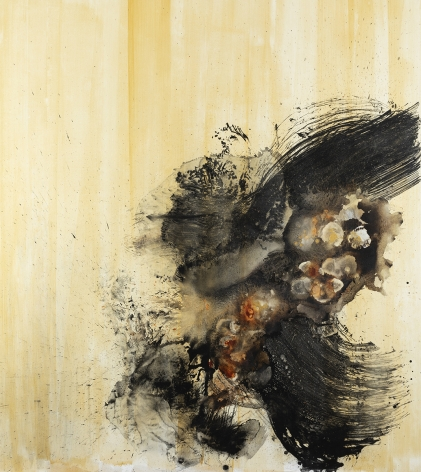 black and yellow Abstract painting by Christopher Rico titled Evonium ink and acrylic on canvas  78 x 69 inches 2020