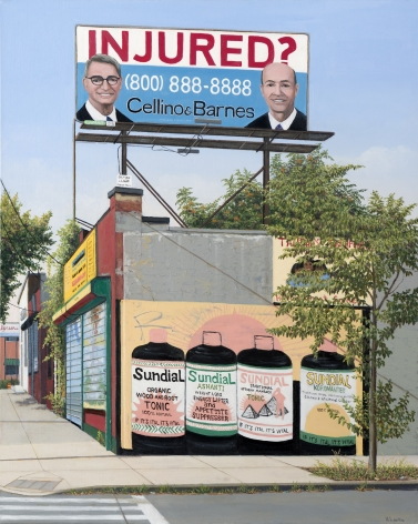 Valeri Larko painting titled Injured?, Bronx, 2019, oil on canvas, 30 x 24 inches imagery urban landscape of corner building with advertisement mural and billboard advertising injured? attorneys Cellino & Barnes