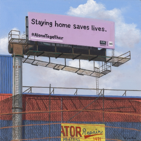 Valeri Larko painting titled Sign of the Times XVI (Staying Home) 2020, oil on linen, 10 x 8 inches imagery urban landscape & buildings in the Bronx, NY