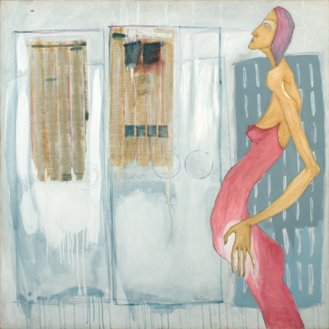 brightly colored figurative painting by Khalid Nadif featuring pregnant woman in pink dress