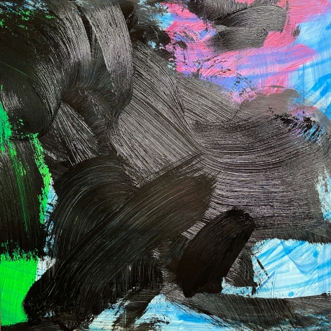 James Austin Murray painting titled Undercolor 6/17-4 in black blue pink and green 30 x 30 inches