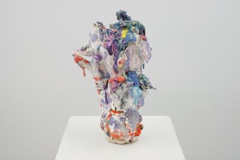 ceramic by Lauren Skelly Bailey titled Teetering  2021, Glazed ceramic, slip, pigment  10 x 5 x 5 in