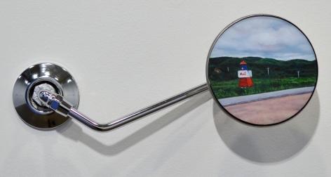 Merci, Nova Scotia, 2017, Oil on panel, motorcycle mirror housing