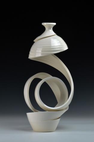 ceramic sculptures by Michael Boroniec titled Spatial Spiral Ribbon 6, white ceramic spiral vessel
