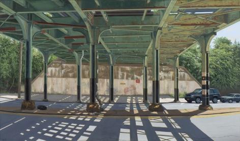 Valeri Larko painting titled Underpass, Dyre Ave Station, Bronx, 2018, oil on linen, 33 x 56 inches imagery under pass of train trestle bridge