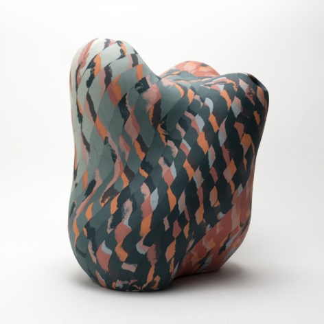 Ceramic sculpture by Janny Baek titled Trio, Colored porcelain w/layered orange and green gradient pattern, 11 x 9 x 8 in
