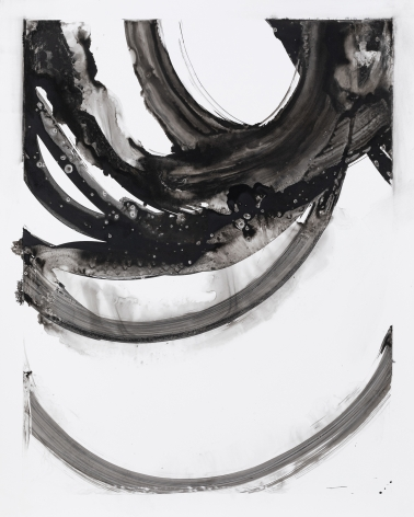 Black and white circular gestural abstract painting on paper titled Lotan VIII by Christopher Rico