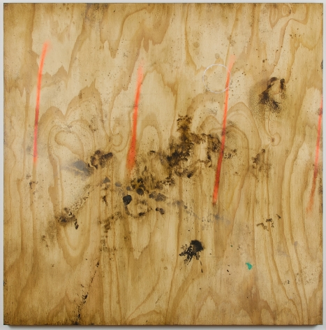 Anthony Adcock painting tilted Marked Out created in 2016 medium Oil on ACM aluminum composite material measuring 48 x 48 in composition looks like old distressed plywood with orange, brown, white and blue stains