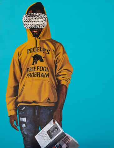 """Painting by Fahamu Pecou measuring 48"""" x 36"""" featuring African American male figure wearing VR goggles and reading Notes of a Native Son by James Baldwin"""