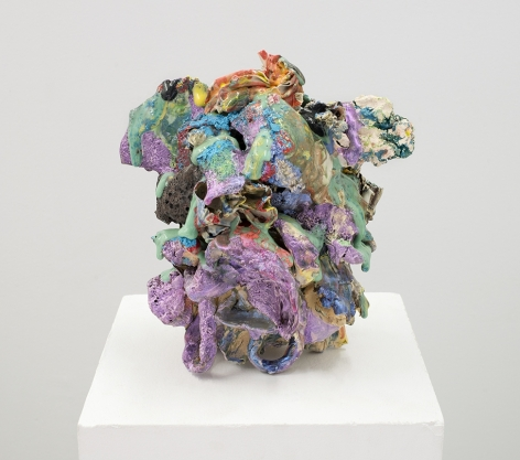ceramic by Lauren Skelly Bailey titled Baste  2021, Glazed stoneware, slip and acrylic  9 x 5 x 5.5 in