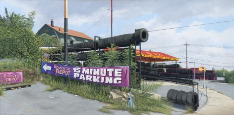 Valeri Larko painting titled 15 Minute Parking, Bronx, 2018, oil on linen, 32 x 64 inches imagery urban landscape featuring tire shop and parking lot
