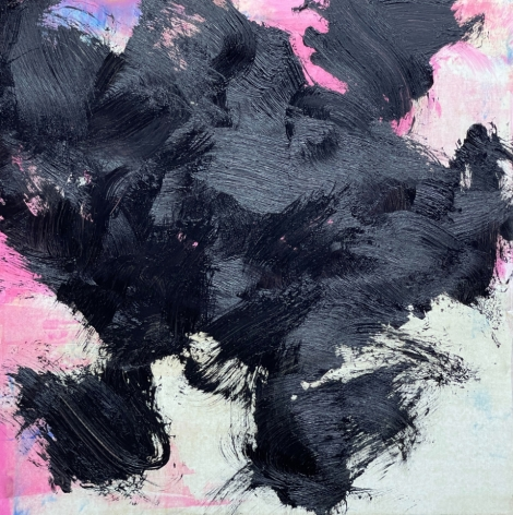 James Austin Murray painting titled Undercolor 7/21-9 in black with pink and white detail 30 x 30 inches