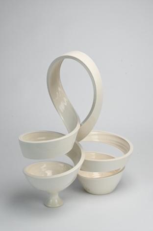 Ceramic work by Michael Boroniec titled Spatial Spiral Arch white ceramic spiral vessel