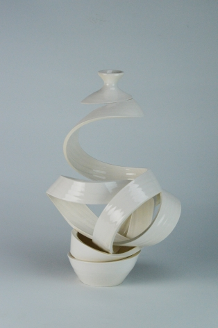 Ceramic vase sculpture by Michael Boroniec tilted Spatial Spiral: Venus II, 2019 Ceramic with white glaze measuring 14.5 x 9 x 8.5 inches