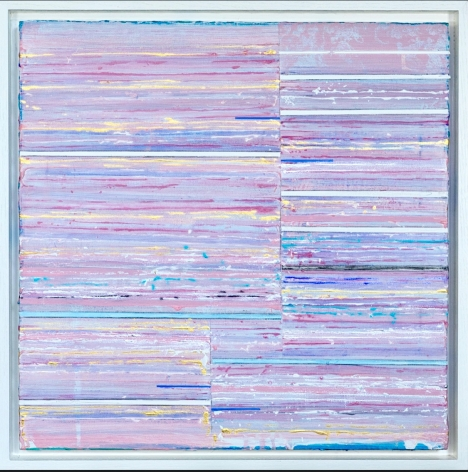 Mark Zimmermann pink striped abstract painting titled Domina, acrylic and graphite on canvas in artist frame, 22 x 22 inches framed