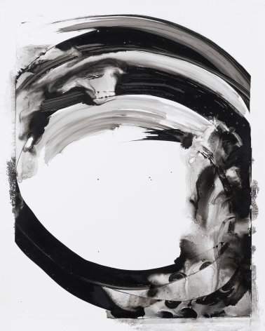 Black and white circular gestural abstract painting on paper titled Lotan XI by Christopher Rico