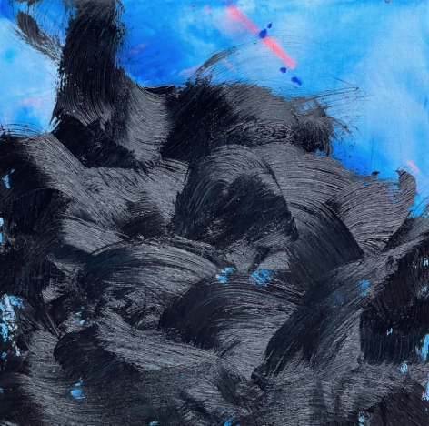 James Austin Murray painting titled Undercolor 7/21-3 in black and blue 30 x 30 inches