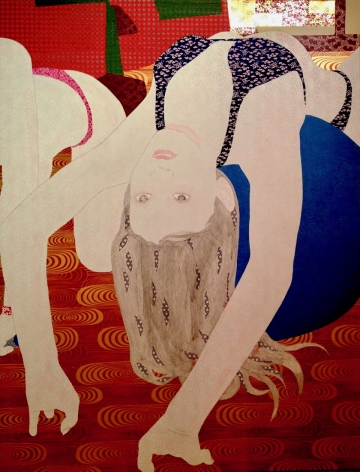 Kaoruko painting titled Aroma Exercise, 2012, Acrylic and gold leaf on canvas, 60 x 46 inches imagery caucasian girl in bikini flippping backwards