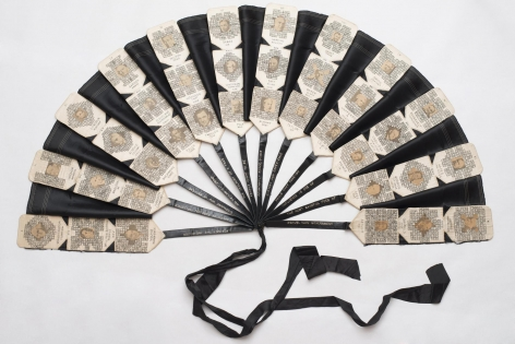 , JESSE M. BROWN Folk Art Fan, ca. 1920 Embroidered fan 44 x 60 x 1 1/4 in. (111.8 x 152.4 x 3.2 cm)