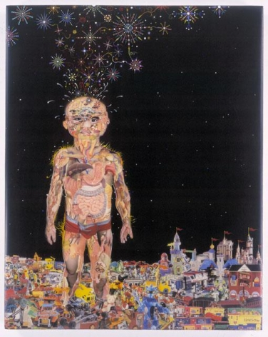 FRED TOMASELLI, Toytopia, 2003, mixed media, acrylic paint, resin on wood, 30 1/8 x 24 x 2 inches