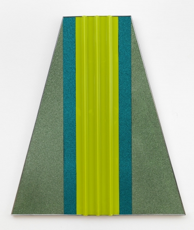 , ROBERT SMITHSON, Fling, 1965, Green plastic panels on wood, aluminum stripping, 48 x 42 in.