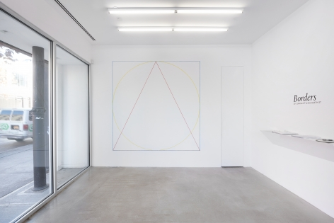 SOL LEWITT, Wall Drawing #320: A blue square, a yellow circle, and a red triangle (outlines) superimposed., 1979, red, yellow, and blue crayon