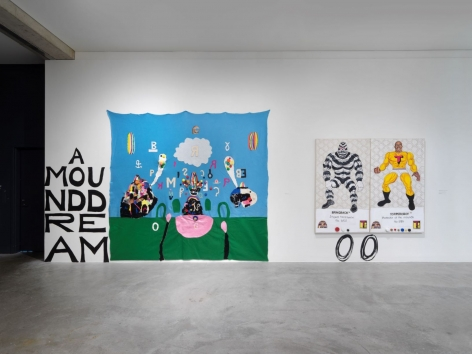 Installation view, Trenton Doyle Hancock,The Re-Evolving Door to the Moundverse,Contemporary Art Museum St. Louis, January19 -April22, 2018