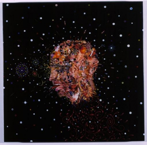 FRED TOMASELLI, Flying Severed Head, 2002, acrylic, photocollage, gouache and resin on wood panel, 24 x 24 inches