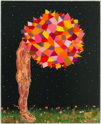 , FRED TOMASELLI Study for Head, 2013 Photo collage, leaves, acrylic, and resin on panel