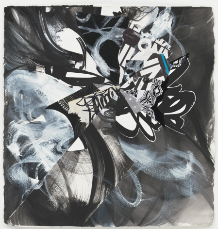 , SHINIQUE SMITH Werewolf Thunders in the Village, 2014 Ink, acrylic, fabric, and collage on paper 23 1/2 x 23 in. (59.7 x 58.4 cm)
