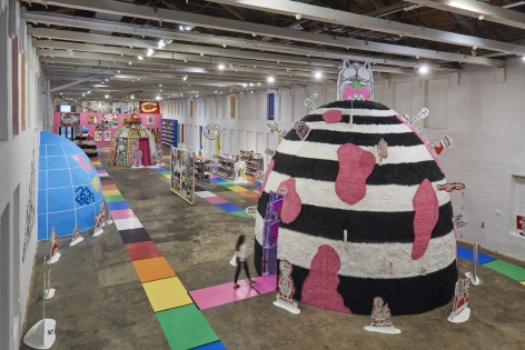 Installation view, Trenton Doyle Hancock, Mind of the Mound: Critical Mass, MASS MoCA, North Adams, MA, 2019