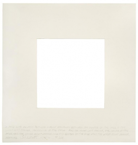 SOL LEWITT R208: Page With An Area Between A Point Halfway Between The Center Of The Page And The Upper Left Corner, The Center Of The Page And The Lower Left Corner, The Center Of The Page And The Lower Right Corner, And The Center Of The Page And The Upper Right Corner Removed