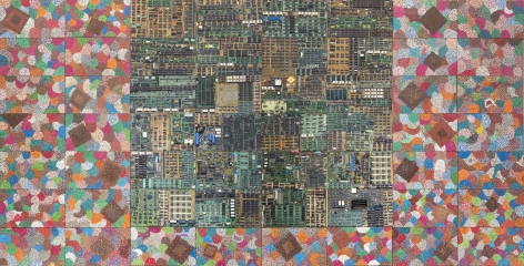 ELIAS SIMETightrope: Behind the Flowers,2017Reclaimed electronic components on panel64 x 126 in. • 162.6 x 320 cmJCG9171