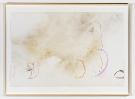 , JOHN CAGE River Rocks and Smoke 04/12/90 #3, 1990 Watercolor on Waterford, cold press, 260 lb. paper prepared with fire and smoke 32 3/8 x 45 x 1 3/4 in. (82.2 x 114.3 x 4.5 cm)