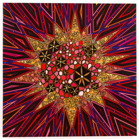 , FRED TOMASELLI Black Star, 2013 Mixed media and resin on wood panel 60 x 60 in. (152.4 x 152.4 cm)