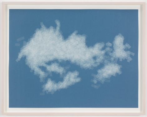 , SPENCER FINCH, Cloud (cumulus mediocris, Germany), 2014, Scotch tape on paper, 19 3/4 x 25 1/2 in. (sheet) 21 5/8 x 27 1/2 in. (framed)