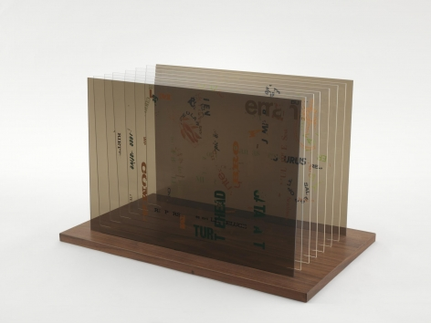 , JOHN CAGE Not Wanting to Say Anything About Marcel Plexigram IV, 1969 Screenprint on eight Plexiglas panels with walnut base 14 x 20 x 1/8 in. (35.6 x 50.8 x 0.3 cm)