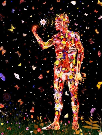 FRED TOMASELLI, Fungi and Flowers, 2002, leaves, photo collage, pills, gouache, acrylic on resin on wood panel, 48 x 36 inches