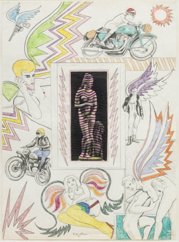 , ROBERT SMITHSON, Untitled [Venus with lightning bolts], 1964, Pencil and crayon with collage on paper, 30 x 22 in.
